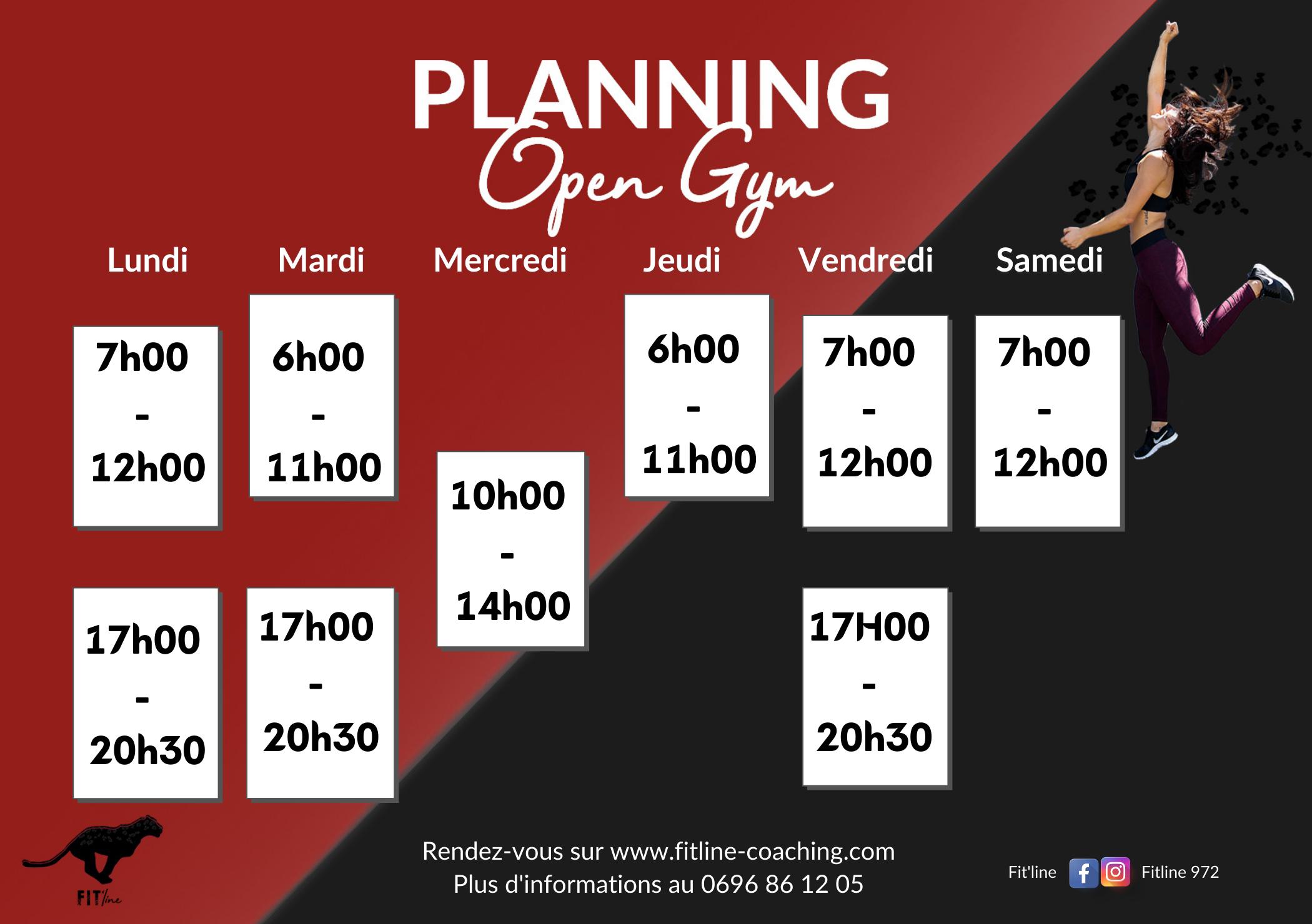 Planning de l'Open Gym